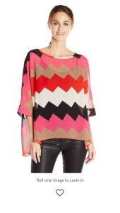 Allegra K Zig Zag Black Brown Pink Red White