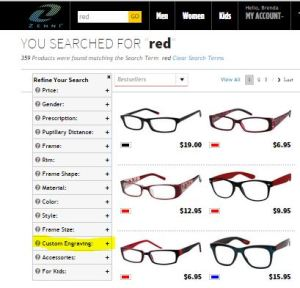 Refine your search on the Zenni website for Engravable Frames